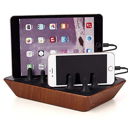 Gelid Solutions Zentree Wooden - Multi USB Ladestation - 4 Port USB Ladegerät für Smartphones, Tablets, PS4 Controller