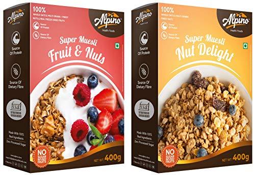 Alpino Super Muesli Nut Delight 400 G (Whole Grain Breakfast Cereal) + Alpino Super Muesli Fruit & Nuts 400 G (Whole Grain...