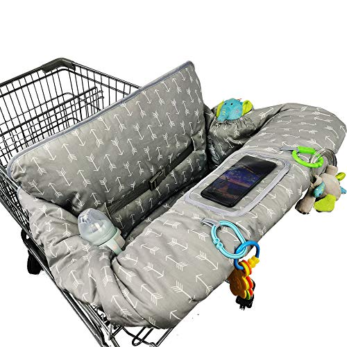 ICOPUCA Shopping Cart Cover for Baby boy Girl, Anti Slip Design, Cotton High Chair Cover, Machine Washable for Infant, Toddler, Grocery Cover Large (Grey)
