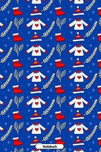 Notizbuch: Winter Weihnachtsmuster 110 Seiten Notizbuch liniertes Papier | ohne Rand | glänzendes Softcover | Rezeptebuch, Schreibheft, Geschenkidee