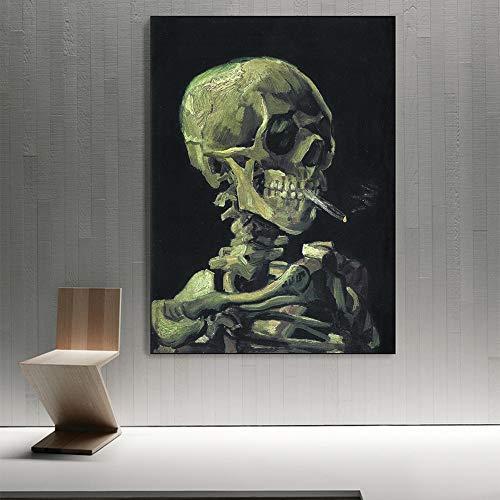 SADHAF Leinwanddrucke Van Gogh auf impressionistischer Wandkunst Leinwand mit brennender Zigarette Kunst Malerei A2 40x50cm