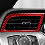 pegatinas de fibra de carbono real para el aire acondicionado del panel decoración del interior de la rejilla del ventilador de la rejilla de salida para Ford Mustang 2015-2020 (rojo)