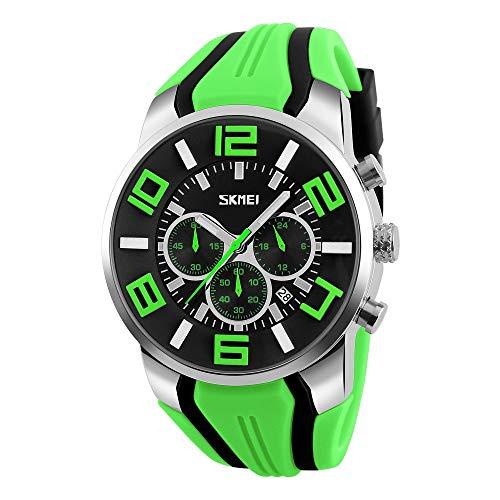 FeiWen Fashion Casual Herren Analog Quarz Uhren Edelstahl Wählscheiben mit Kautschuk Band Armbanduhren Stoppuhr Kalender Sportuhr (Grün)