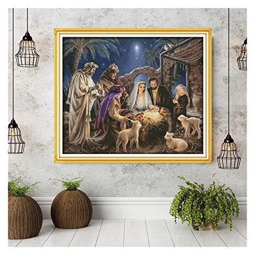 Punto De Cruz El nacimiento de los patrones de Jesús del bebé, kits de punto de cruz de lona, conjunto de costura de bordado, decoración del hogar Enviar herramientas de accesorios Punto De Cruz Kit