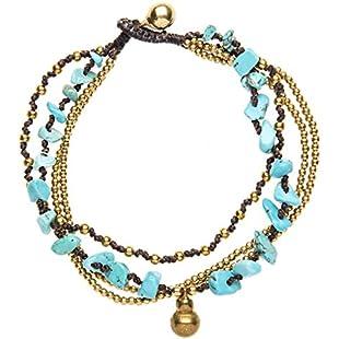 81stgeneration Women's Brass Gold Tone Simulated Turquoise Bell Bead Ankle Anklet Bracelet, 26 cm:Hitspoker