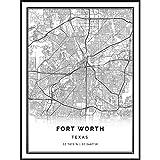 Squareious Fort Worth map Poster Print   Modern Black and White Wall Art   Scandinavian Home Decor   Texas City Prints Artwork   Fine Art Posters 9x11
