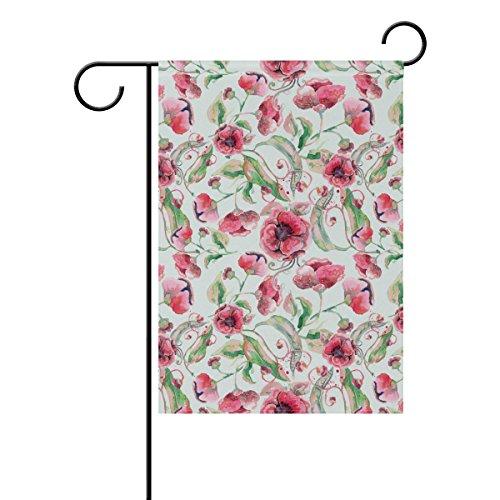 Jstel Home aquarelle Fleurs roses tissu polyester drapeaux de jardin Lovely et résistant aux moisissures personnalisés imperméables de 30,5 x 45,7 cm