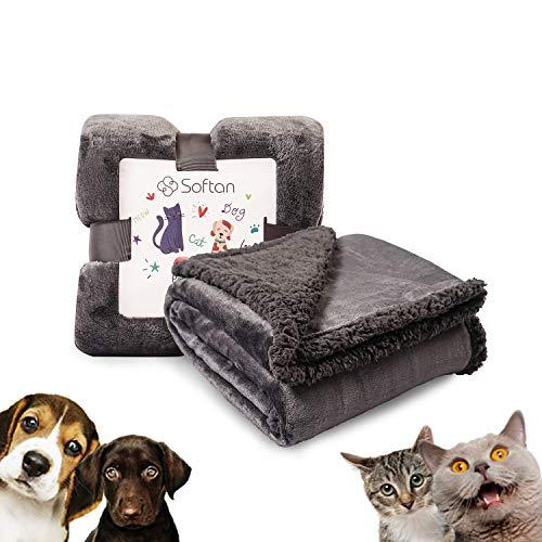 softan Premium Hondendeken, Omkeerbare Flanellen Fleece Sherpa Huisdierdeken, Hondenmand voor Kleine, Middelgrote, Grote Honden, Katten, Dieren,76x100cm,Donker Grijs