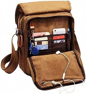 Durable Vintage Multifunction Canvas Shoulder Bag Business Messenger Bag Ipad Bag Tote Bag Satchel Bag (Brown)