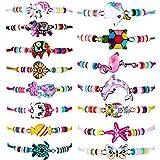 15 Pulseras de Niñas de Animal Unicornio Amistad Gato Mariposa para Premio de Fiesta Disfraz (Estilo Clásico)