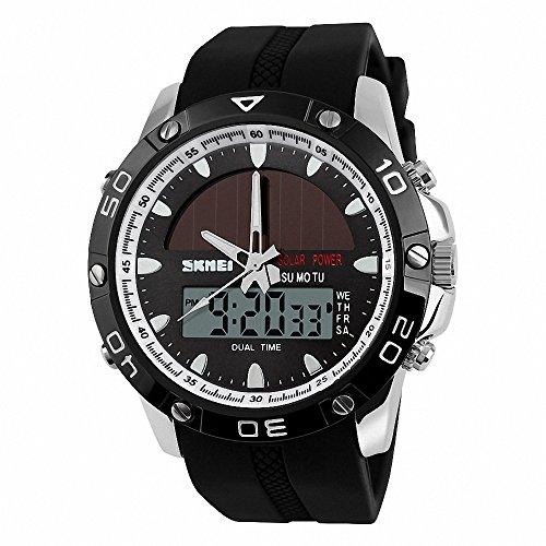 SKMEI Unisex Men Digital-Quartz Watch PU Rubber Strap Multifunction Waterproof Solar Energy + BOX