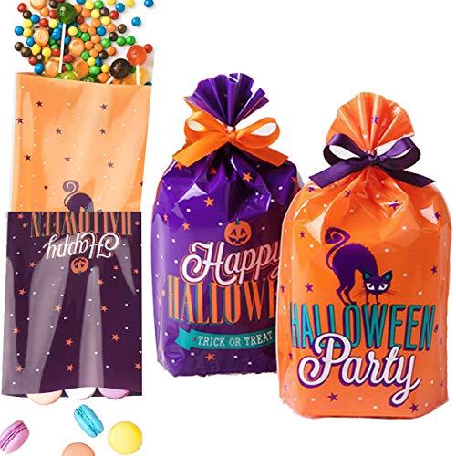 dancepandas Sacchetto di Caramelle di Halloween 100PCS Sacchetti di Biscotti Sacchetto Regalo per Le Forniture di Partito Halloween (Arancione Viola)