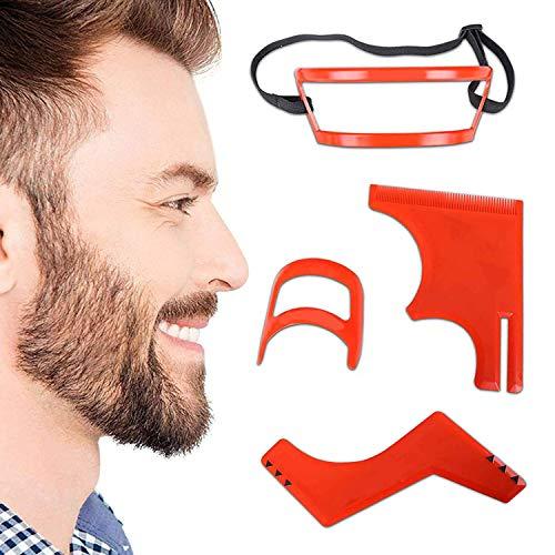 Herramienta para moldear la barba, 4 piezas, kit de herramientas para peinado y corte de pelo, guía para barba + plantilla de corte de pelo + guía de cuello + guía de goatee