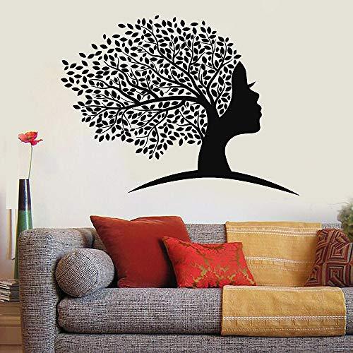 WERWN Etiqueta engomada de la Pared de Las Mujeres africanas abstractas Etiqueta engomada del Vinilo de la decoración del hogar de la Hoja de la Cara
