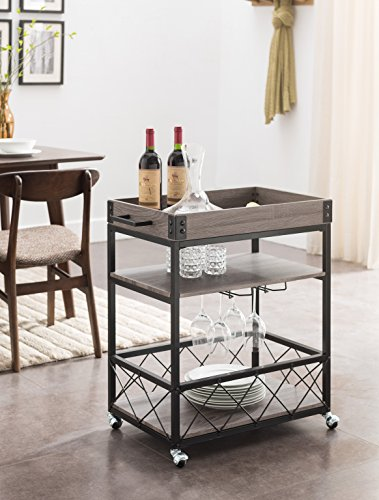 Weathered Grey / Black Metal Industrial Style 3-tier Serving Wine Tea Dining Kitchen Cart with Bottle Holder