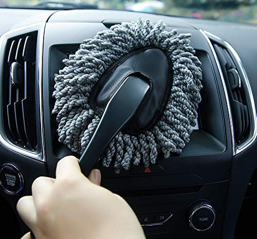 Shopping GD Multi-functional Car Duster Cleaning Dirt Dust Clean Brush Dusting Tool Mop Gray Car Cleaning Products