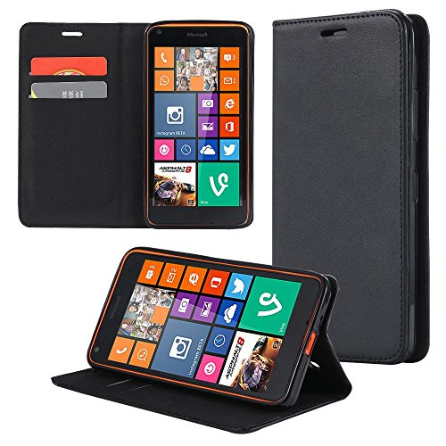 ECENCE Handyhülle Schutzhülle Case Cover kompatibel für Microsoft Lumia 640 Dual 640 LTE Handytasche Schwarz 23030206