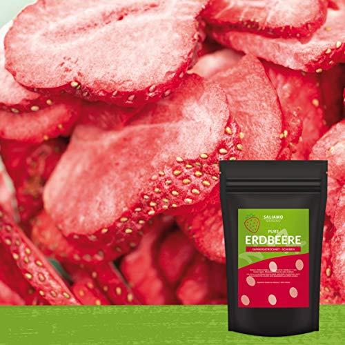 Erdbeeren gefriergetrocknet in Scheiben Pure Frucht, wieder verschließbar, ohne Zusätze, sehr intensiver Geschmack, besonders knusprig Ideal zum naschen, für Müsli, Smoothie, als Snack (100g)