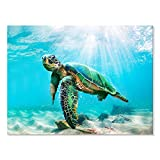JAPO ART Canvas Green Sea Turtle Wall Art Prints Submarine Picture Modern Blue Ocean Animal Painting Prints Small Framed Ready to Hang for Bathroom Living Room Nursery Room 16x12Inch