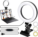 Kit de iluminación de videoconferencia con anillo de luz LED con clip para teléfonos móviles, luz de maquillaje regulable para stream/YouTube/TikTok/fotografía compatible con iPhone y Android Phone