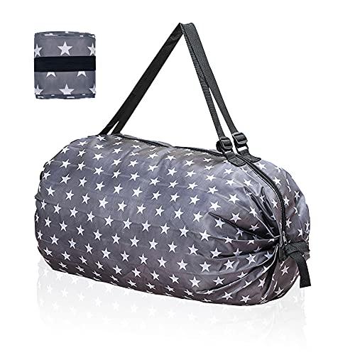 Roucerlin Borsa pieghevole riutilizzabile per la spesa, borsa portatile con una spalla, borsa da spiaggia impermeabile, grande capacità, per picnic, campeggio, viaggi (stelle grigie)