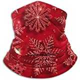 Fleece Neck Scarf,Christmas Shining Red Snowflake Outdoor Knit Headwear Wool Snow Ski Caps Face Mask,for Unisex