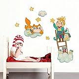 kina R00428 Adhesivo de pared para niños - El Principito en la escalera - Tamaño de hoja 30x120 cm - Decoración de pared, Vinilos decorativos, Papel pintado