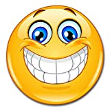 easydruck24de 1 Smiley-Aufkleber Smile I kfz_297 I rund Ø 15 cm I Emoticon Sticker lachend für Laptop Tür Motorrad Roller Auto I wetterfest