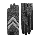 isotoner Women's Spandex Stretch Shortie Cold Weather Gloves with Leather Palms and Chevron Details, smartDRI Black, Large/X-Large