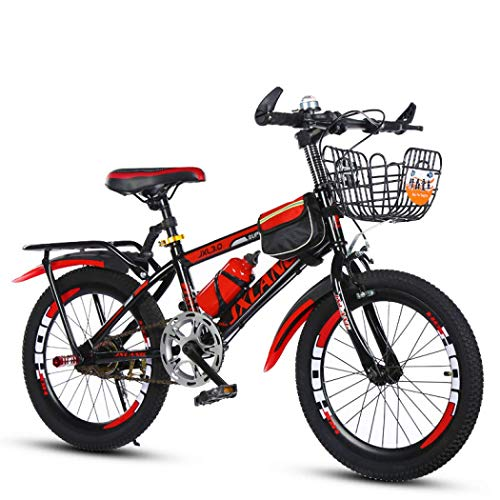 Leafik Children's Bicycles18/20/22 Inch Boys and Girls Bikes Variable Speed Mountain Kids Bike Sports Outdoor Cycling for 6-13 Years Old Kids with Water Bott and Bag (Red with Water Bott,Bag,20 inch)