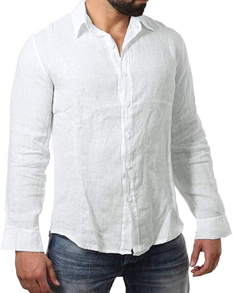 MODOQO Men's Slim-Fit Long-Sleeve Cotton Blend Solid Button Down Shirt