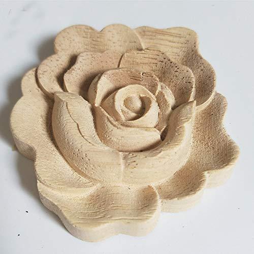 Dorime Möbel Holzschnitzerei Appliques Jahrgang Seedekor Schranktür Massivholz-Abziehbilder Blumen-Muster Geschnitzte Holzfiguren