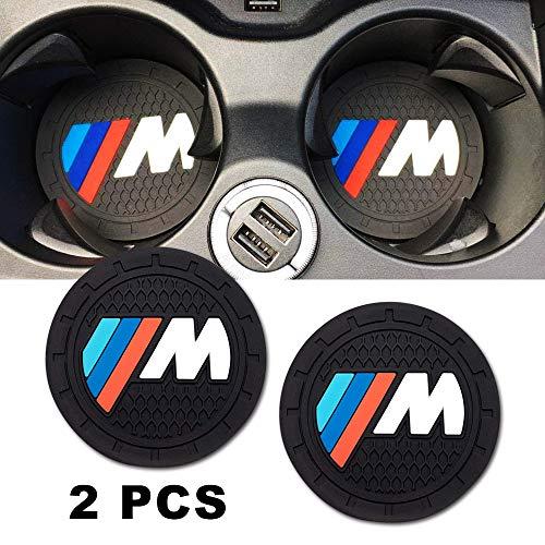 "Brandless Car Interior Accessories for BMW Sport M Cup Holder Insert Coaster - Silicone Anti Slip Cup Mat for BMW 1 3 5 7 Series F30 F35 320li 316i X1 X3 X4 X5 X6 (Set of 2, 2.75"" Diameter)"