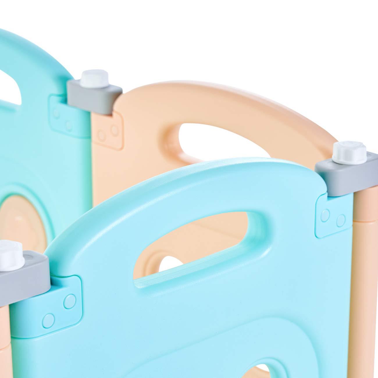 Baby Vivo Laufgitter Laufstall Zusatzpaket Faltbar Baby Absperrgitter Krabbelgitter Schutzgitter f/ür Kinder aus Kunststoff mit T/ür und Spielzeug Kory 4 Elemente