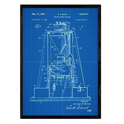 Poster Nacnic patent koffiemachine. Blad met oud ontwerp patent A3-formaat met blauwe achtergrond
