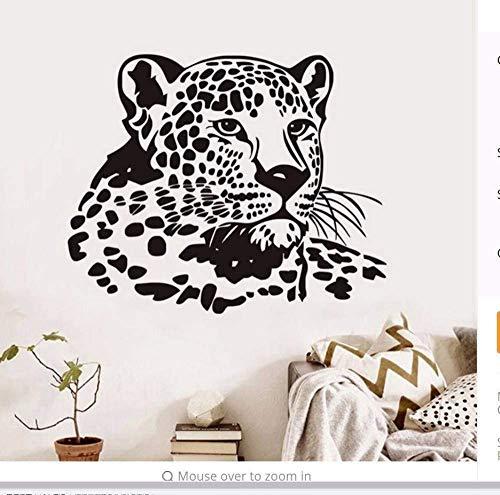 Muursticker luipaardhoofd kinderkamer wanddecoratie dieren PVC afneembaar scheidingswand deco 72 x 58 cm