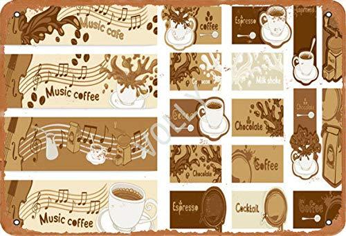 Volly Music Coffee Retro previene el deslumbramiento clásico elegante diversión arte moda metal decoración de la pared cartel de chapa adecuado para cocina sala de estar bar cafetería decoración