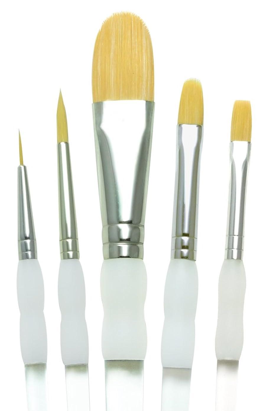 Royal Brush 408548 10014044 Soft Grip Starter Golden Taklon Fiber Paint Brush Set Assorted Size Multicolor 5