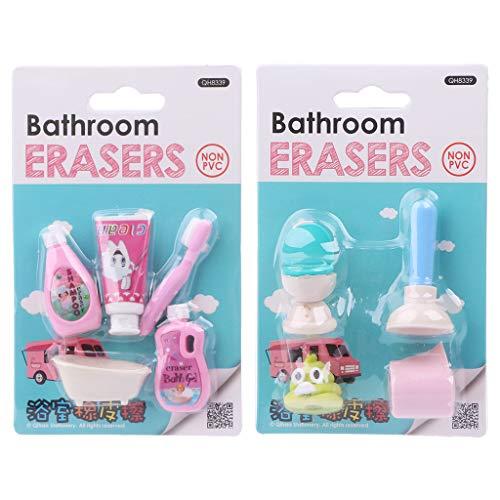 COLUDOR 1 Set Kawaii Badkamer Erasers Tissue Closestool Badkuip Shampoo Rubber Potlood Gummetje voor Kids Studenten Geschenken