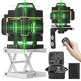 KKmoon Niveau Laser 360° 4D 16 Lignes, avec Affichage LED Outil de Nivellement Automatique à 3 °, Sol Omnidirectionnel et Autocollant Mural, avec Ligne Oblique Horizontale Verticale, avec 2 Batteries
