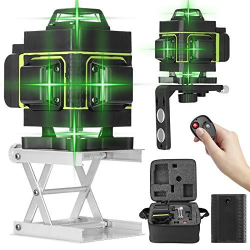 Kecheer Nivel laser autonivelante 16 líneas Con 2 Baterías,Niveles láser 360 grados,Nivelador Láseres de línea suelo y pared,con línea vertical horizontal oblicua