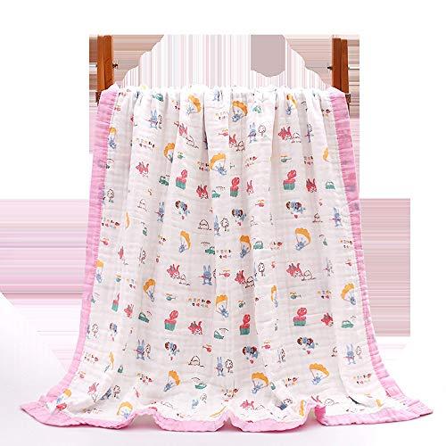 Edredón Infantil de Gasa de Seis Capas de algodón de Alta Densidad, edredón para recién Nacidos, edredón de Toalla 110 * 110 Borde de Color Ancho