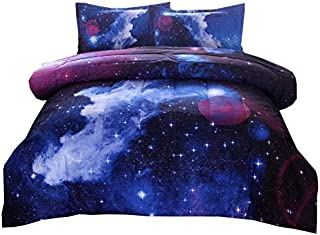LSSAWZH Galaxies Dark Blue Comforter Sets Full Size (78x90 Inch),Includes 1 Comforter, 2 Pillowcase,3D Outer Space Themed ...