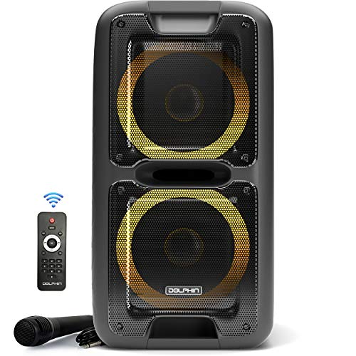 Party Speaker by Dolphin, Portable Bluetooth Speaker on Wheels with Sound Activated Light Show (SP-2100RBT)