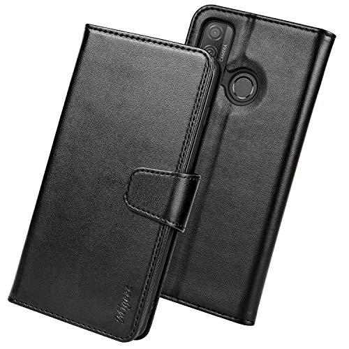 Migeec Handyhülle Kompatibel mit Huawei P smart 2020 Leder Hülle Tasche Flip Cover Schutzhülle - Schwarz