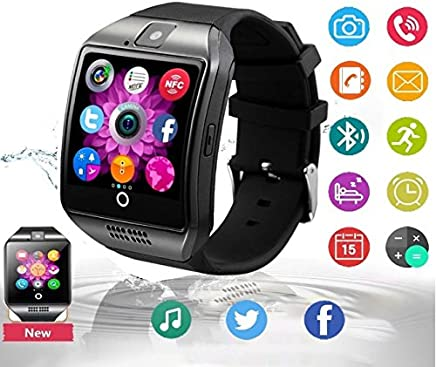 Bluetooth Reloj Inteligente con Cámara, Ezone Reloj Inteligente para Android Teléfonos Inteligentes, Q18 Smart Watch - Negro