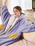 WTFYSYN Bata de baño 100% algodón Puro para Mujer,Otoño e Invierno, Bolsillos de Cinco Estrellas, Pijama Largo, Lujoso Servicio a Domicilio, camisón cálido-Cesta púrpura_El