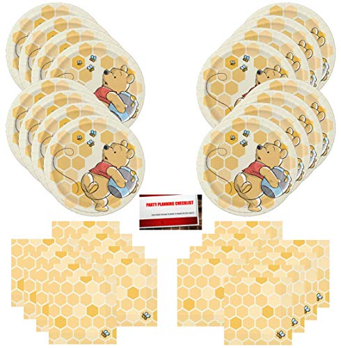 Winnie The Pooh Bear Animal Honey Bee Birthday Party Supplies Bundle Pack for 16 Guests (Plus Party Planning Checklist by Mikes Super Store)