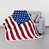 maylian US Flag Print Sherpa Throw Blanket - Lightweight Microfiber for Couch and Bed - Great Gift for Veteran Friend Men Women Proud American House (Youth 50 X 60 INCH)