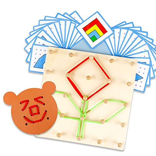 YHZAN Wooden Geoboard Graphing Peg Board Montessori Toddler Sensory Toy Colorful Rubber Bands Pattern Cards Preschool Learning Game